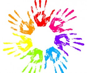Colorful Hand prints design vector set 02