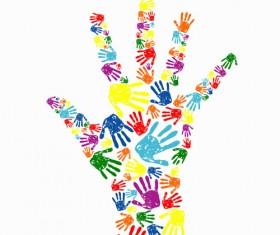 Colorful Hand prints design vector set 03