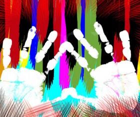 Colorful Hand prints design vector set 05