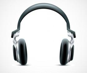 Elements of headphones vector set 01