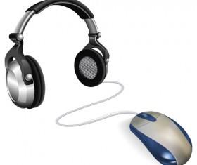 Elements of headphones vector set 04