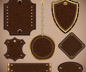 Vintage Leather lables and tags vector set 01