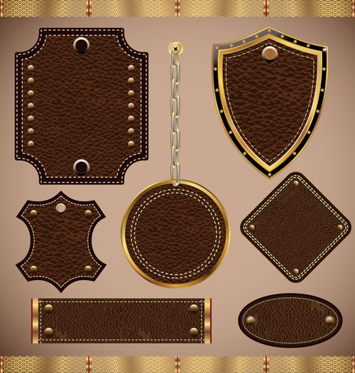 Vintage leather lables and tags vector set 01 over millions vintage leather lables and tags vector set 01 pronofoot35fo Image collections