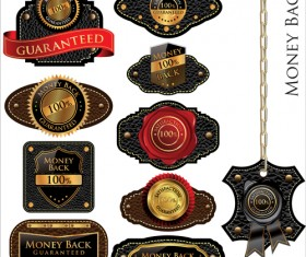 Vintage Leather lables and tags vector set 02