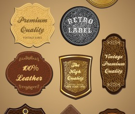 Vintage Leather lables and tags vector set 03