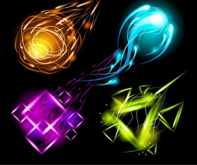 Set of Sparkling Light effects vector material 02
