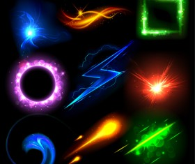Set of Sparkling Light effects vector material 03