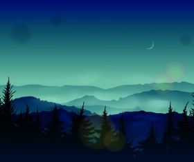Night the moon elements vector 02