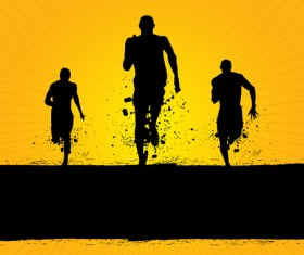 Set of Running elements people silhouette vector 01