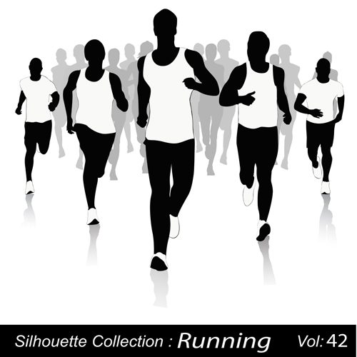 Set of Running elements people silhouette vector 03