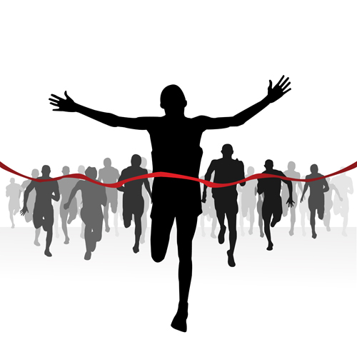 Set of Running elements people silhouette vector 04