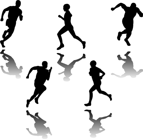 Set of Running elements people silhouette vector 05