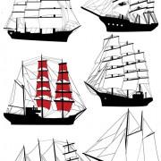 Link toSet of vivid sailing vessels design vector 03