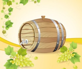 Set of Wooden Wine barrel vector material 01