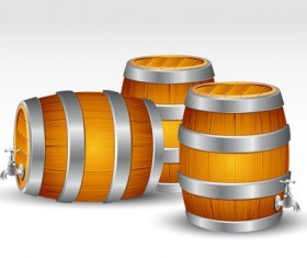 Set of Wooden Wine barrel vector material 02