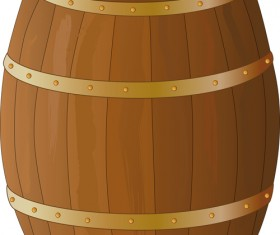 Set of Wooden Wine barrel vector material 03