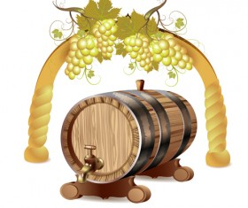 Set of Wooden Wine barrel vector material 04