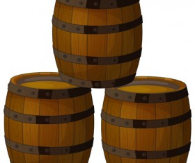 Set of Wooden Wine barrel vector material 05