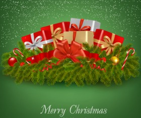Green Pine needles Christmas cards backgrounds vector 01
