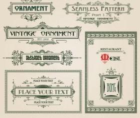 Vintage Ornaments and frames design vector material 01