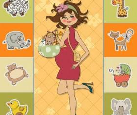 Cartoon Children cards design vector material 02