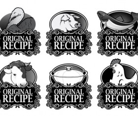 Set of recipe labels vector 01