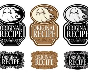 Set of recipe labels vector 02