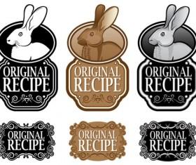Set of recipe labels vector 04