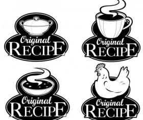 Set of recipe labels vector 05