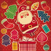 Link toSanta claus and xmas stickers vector grahpic 01