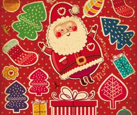Santa Claus and xmas Stickers vector grahpic 01