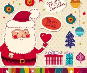 Santa Claus and xmas Stickers vector grahpic 03