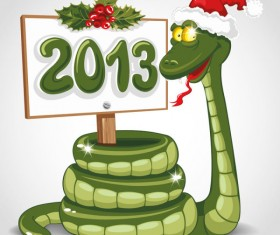 Funny 2013 Snake Greeting Card vector set 01