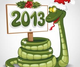 Funny 2013 Snake Greeting Card vector set 01