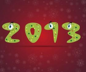 Funny 2013 Snake Greeting Card vector set 03