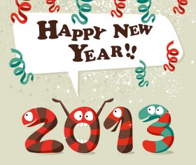 Funny 2013 Snake Greeting Card vector set 05