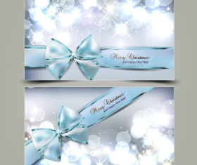 Shiny Christmas cards and banner design vector set 02
