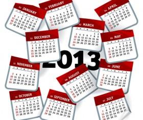 Elements of Creative Calendar grid 2013 vector 05