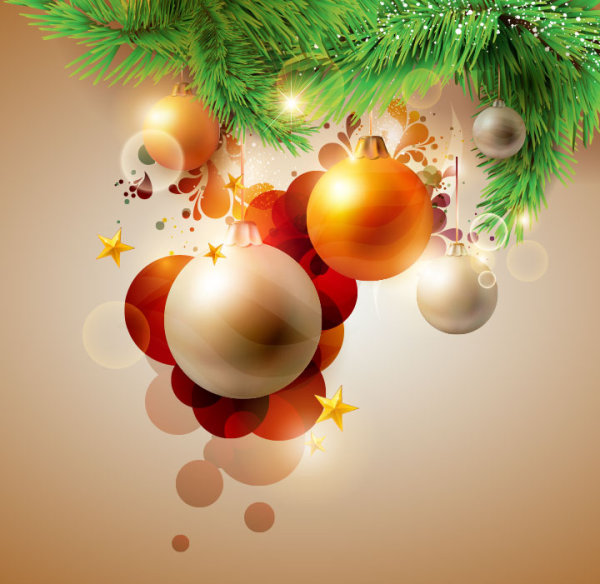 Christmas gift with ornaments design elements vector 01