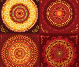 Set of circular floral pattern vector 01