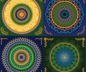 Set of circular floral pattern vector 02