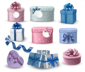 colorful Gift box and banner design vector 01