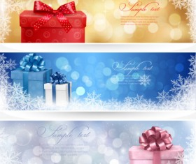 colorful Gift box and banner design vector 02
