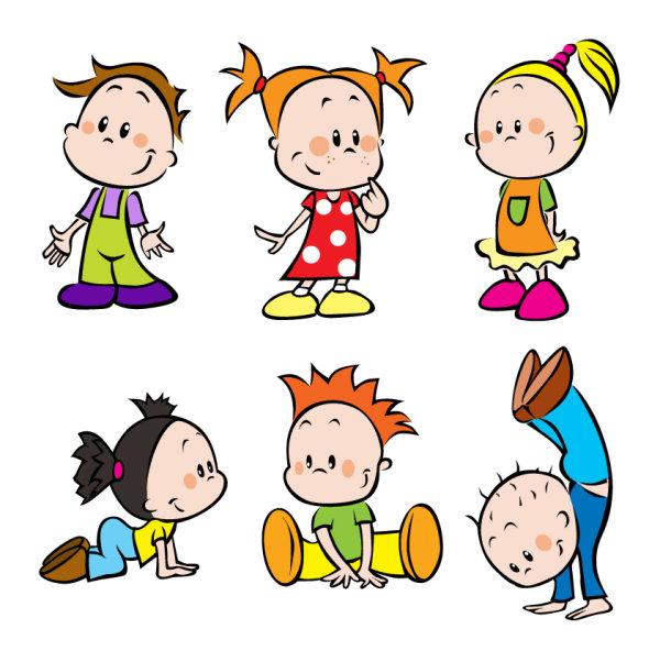 Different Cartoon Children elements vector material 01