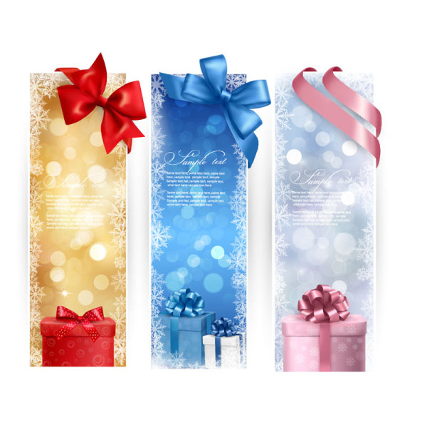colorful Gift box and banner design vector 03