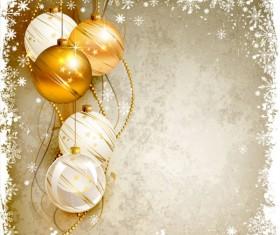 Shiny Ball with Christmas background vector graphics 02