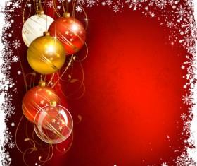 Shiny Ball with Christmas background vector graphics 03