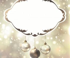 Shiny Ball with Christmas background vector graphics 04