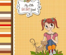 Cartoon Children cards design vector material 03