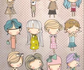 Different Cartoon Children elements vector material 03